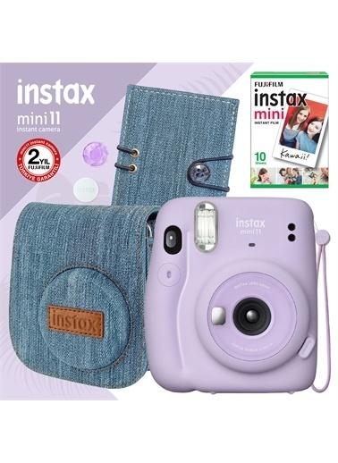Instax Instax mini 11 Lila Fotoğraf Makinesi ve Jean Aksesuarlı Hediye Seti 2 Lila